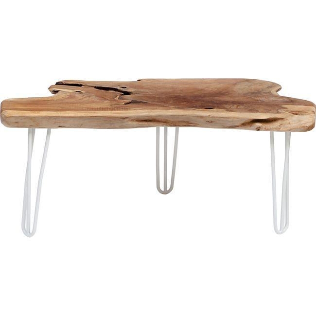 Teak Wurzel Tisch gardenho teak wurzeltisch ca. 100 cm, mit hairpin - beinen weiss