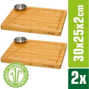 2er-Set Bambus-Servierbrett + Dip-Schale 30x25cm Holz-Steak-Teller Speiseteller - Bild 1