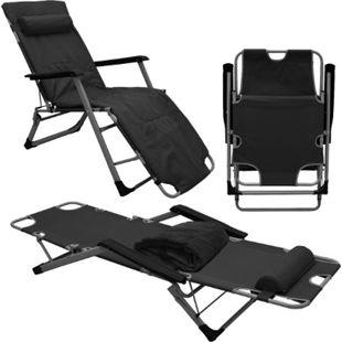 Liegestuhl mit Auflage und Kopfkissen 178 cm Garten Camping Sonnenliege Schwarz - Bild 1