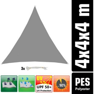 UPF50+ UV Sonnensegel 4x4x4 Polyester Dreieck Wasserabweisend Garten Segel Grau - Bild 1