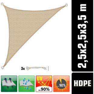 UV Sonnensegel 2,5x2,5x3,5 HDPE Dreieck Rechtwinklig Sonnenschutz Garten Beige - Bild 1