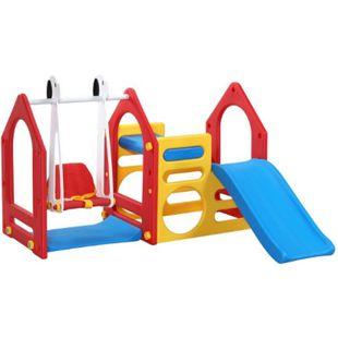 Kinder Spielhaus mit Rutsche Schaukel 155x135cm Spiel-Turm Kletter-Haus Kunststoff Kinderspielhaus - Bild 1