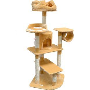 Katzenkratzbaum Hans ca. 155 cm hoch Kratzbaum Katzenbaum | Freistehender Kletterbaum für Katzen inkl. Kuschelbett mit hohem Rand | Stämme aus Natursisal | weiche Plüsch-Liegeflächen | Diverse Farben - Bild 1