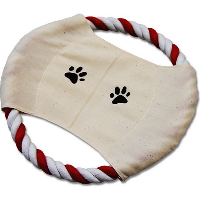 Tierspielzeug Hund Frisbee rot/weißes Tau ca. 20 cm Durchmesser - Bild 1