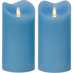 LED Kerze Echtwachskerze mit Timer Ø9,5cm Echtes Wachs 18cm Blau mit Flammen-Simulation - Bild 1