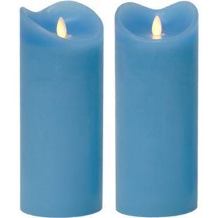 LED Kerze Echtwachskerze mit Timer Ø9,5cm Echtes Wachs 23cm Blau mit Flammen-Simulation - Bild 1