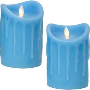 LED Kerze Echtwachskerze mit Timer Ø9,5cm Echtes Wachs 14cm Blau Tropfendesign mit Flammen-Simulatio - Bild 1