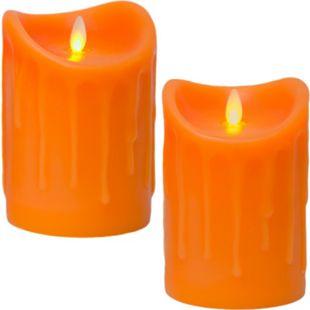 LED Kerze Echtwachskerze mit Timer Ø9,5cm Echtes Wachs 14cm Orange Tropfendesign mit Flammen-Simulat - Bild 1