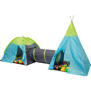 Spielzelt Bällebad Zelt Pocahontas mit Tunnel und Wigwam - Bild 1