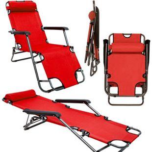 Liegestuhl Campingliege Gartenliege 100 kg Sonnenliege Liege Strandliege Stuhl - Bild 1