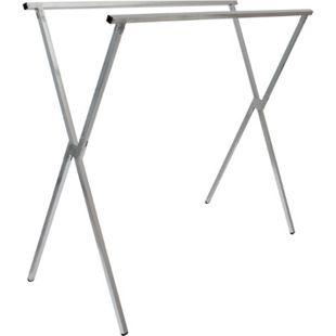 klappbarer Kleiderständer 2 Aufhängestangen Garderobenständer Wäscheständer 150cm lang Mehrzweckstand 100% Metall Silber - Bild 1
