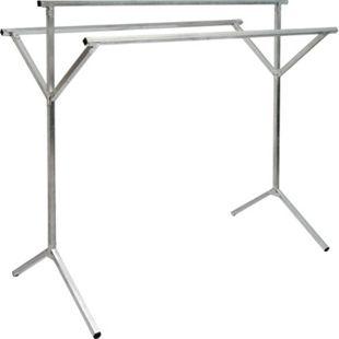 klappbarer Kleiderständer 3 Aufhängestangen Garderobenständer Wäscheständer 150cm lang Mehrzweckstand 100% Metall Silber - Bild 1