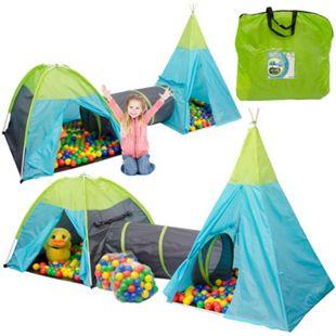 Spielset Kinderspielzelt Pocahontas inkl. 200 Bällebadbällen | Spielzelt Spielhaus für Jungen und Mädchen | Kinder-Bällebad-Zelt mit Spielbällen | inkl. Tragetasche - Bild 1