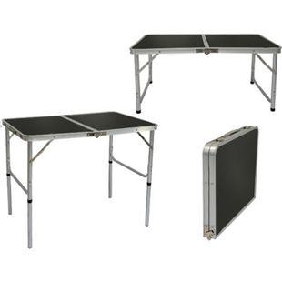 Höhenverstellbarer Campingtisch 90x60x70 cm Leichtgewicht Klapptisch Reisetisch im Kofferformat Grau - Bild 1