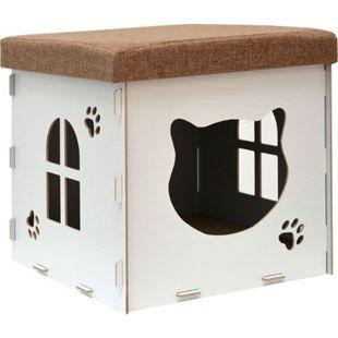 Katzenhöhle 41x41x41cm inkl. Kratzbrett Katzenhaus im Sitzhocker Sitzwürfel Weiß - Bild 1