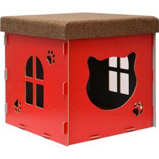 Katzenhöhle 41x41x41cm inkl. Kratzbrett Katzenhaus im Sitzhocker Sitzwürfel Rot - Bild 1