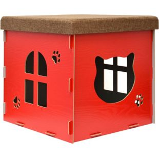 Katzenhöhle 46x46x46cm inkl. Kratzbrett Katzenhaus im Sitzhocker Sitzwürfel Rot - Bild 1