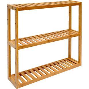 Wandregal 54x60x15cm Bambus Bad-Regal 3 Fächer Holz Ablage Badezimmer Hängeregal - Bild 1
