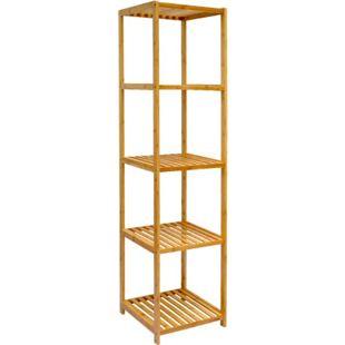 Badregal 38x39,5x162,5cm Bambus Holz Regal 5 Fächer Bad Badezimmer Standregal - Bild 1