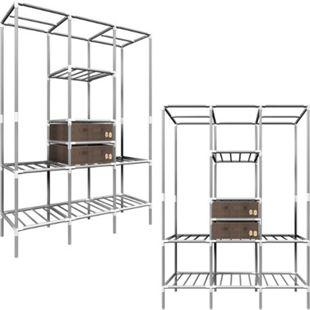 XL Kleiderschrank Metall Regal System 2 Schubladen 178x128x44,5cm Faltschrank - Bild 1