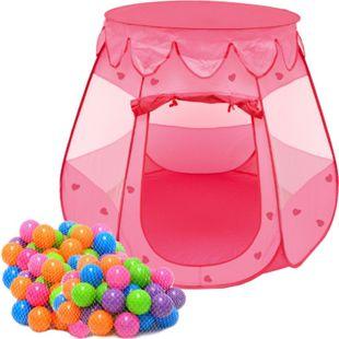 Mädchen Bällebad Zelt 200 Baby Bälle Kinderzelt Spielzelt 120x120x90cm Rosa - Bild 1