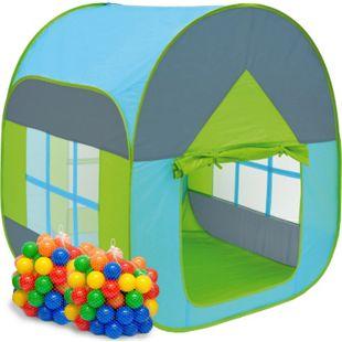 Bällebad Zelt 200 Bälle Kinderzelt Spielzelt 90x90x110cm Baby Bällchenbad Blau - Bild 1