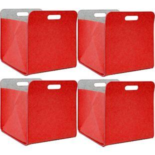 4er Set Filz Aufbewahrungsbox 33x33x38 cm Kallax Filzkorb Regal Einsatz Box Rot - Bild 1