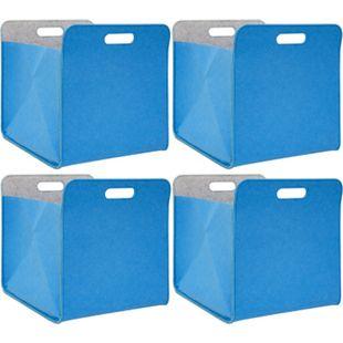 4er Set Filz Aufbewahrungsbox 33x33x38 cm Kallax Filzkorb Regal Einsatz Box Blau - Bild 1