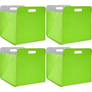 4er Set Filz Aufbewahrungsbox 33x33x38 cm Kallax Filzkorb Regal Einsatz Box Grün - Bild 1