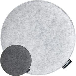 30mm Filz Sitzkissen Rund Ø 35cm Stuhlkissen Sitzauflage Weich 2-farbig Grau - Bild 1