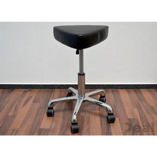 Arbeitshocker MST-407 Drehhocker Kosmetikhocker Praxishocker | Rollhocker 360° drehbar stufenlos höhenverstellbar | Metall Gestell Fußkreuz | Belastbarkeit 120 kg | Schwarz - Bild 1