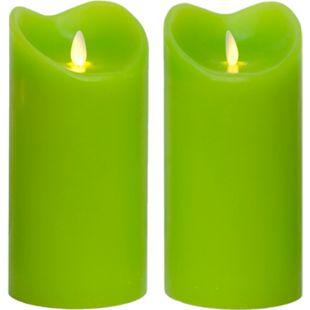 LED Kerze Echtwachskerze mit Timer Ø9,5cm Echtes Wachs 18cm Grün mit Flammen-Simulation - Bild 1