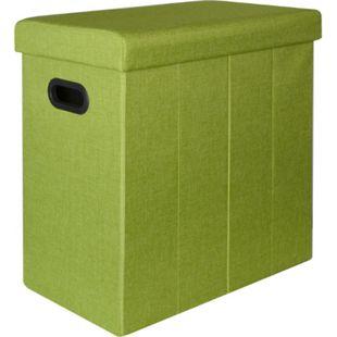 Faltbarer Wäschekorb 70L Wäschetruhe mit Deckel Wäschebox Wäschesammler Leinen-Optik Grün - Bild 1