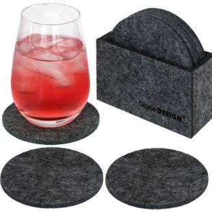 8 Edle Filz-Untersetzer Ø 10cm Runde Filz-Bierdeckel Glas-Untersetzer Set Grau - Bild 1