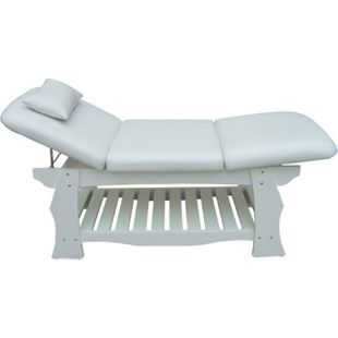 Spa Massageliege Holz Behandlungsliege Kosmetikliege Massagebank Weiß - Bild 1