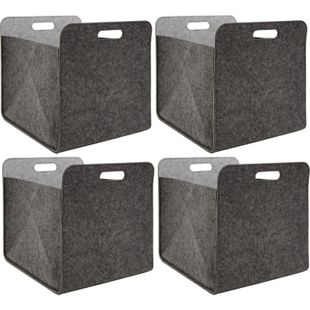 4er Set Filz Aufbewahrungsbox 33x33x38 cm Kallax Filzkorb Regal Einsatz Box Grau - Bild 1