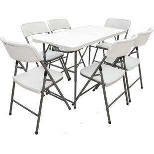 Gartenmöbel Set Klappbar - 120cm Tisch mit 6 Stühlen Garten Essgruppe Sitzgruppe - Bild 1