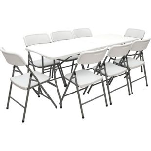 Gartenmöbel Set Klappbar - 180cm Tisch mit 8 Stühlen Garten Sitzgruppe Essgruppe - Bild 1
