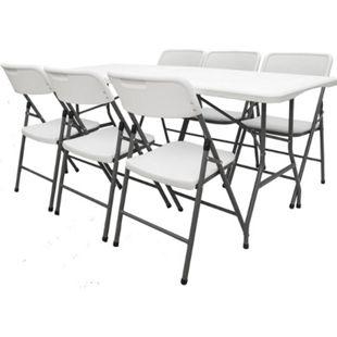 Gartenmöbel Set klappbar - 180cm Tisch mit 6 Stühlen Garten Sitzgruppe Essgruppe - Bild 1