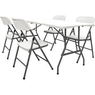 Gartenmöbel Set Klappbar - 180cm Tisch mit 4 Stühlen Garten Sitzgruppe Essgruppe - Bild 1