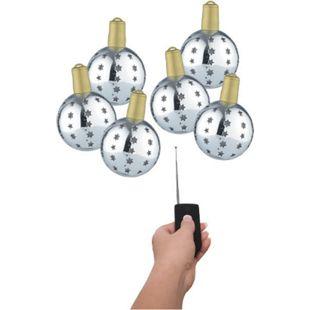 6x Lichterglanz LED Weihnachtsbaum Kugel Baum Schmuck beleuchtet kabellos silber - Bild 1