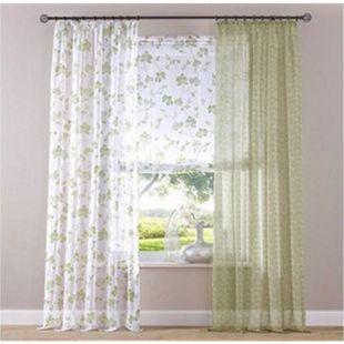 Heine Dekostore 135x220cm Vorhang Gardine Dekoschal Fenster Store Vorhänge grün - Bild 1