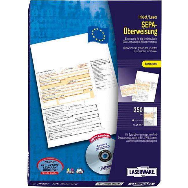 Laserware SEPA Überweisungsformular Überweisungsträger Bankformular  250 Blatt - Bild 1