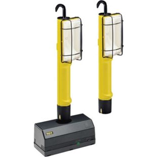 3tlg. Beghelli Akku Werkstatt Halogen Lampe Leuchte Arbeitslampe Handleuchte - Bild 1