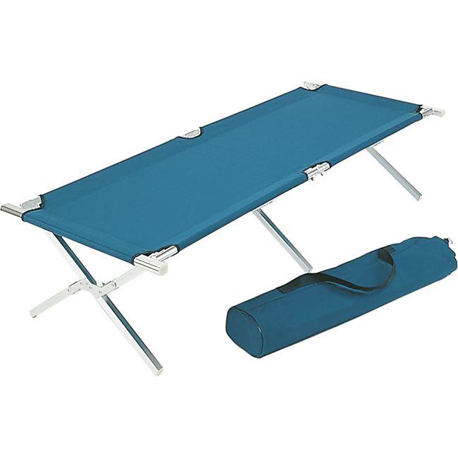 Feldbett Klappbett Bett Campingbett Gästebett Garten Liege Campingliege blau - Bild 1