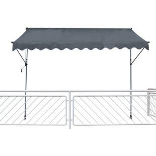 Leco Klemmmarkise 195x120cm Balkon Markise Spannmarkise Sonnenschutz grau - Bild 1