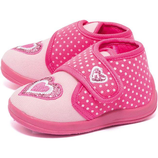 Mädchen Fleece Hausschuhe Herz pink - Bild 1