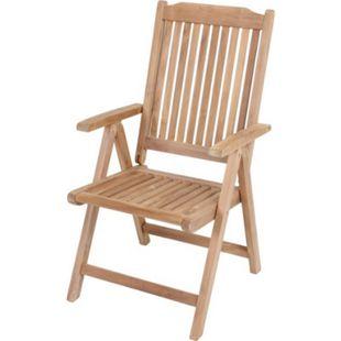 Garden Pleasure Teak Hochlehner Solo Holz Garten Stuhl Sessel Möbel klappbar - Bild 1