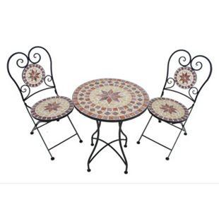3tlg. Balkon Set Mosaik Garten Terrasse Metall Stuhl Tisch Beistelltisch Stühle - Bild 1