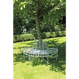Garden Pleasure Metall Baumbank Varda Gartenbank Sitzbank Parkbank Antik weiß - Bild 1